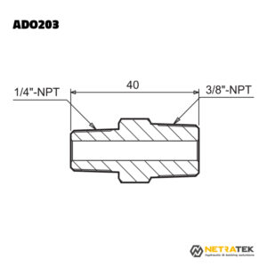 "ADO203 1/4""-3/8"" NPT 700 Bar Nipel"